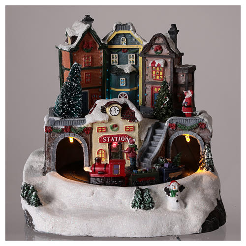 Christmas Village with moving train 20x15 cm 2