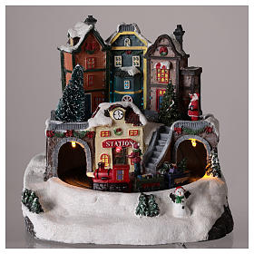 Village de Noël avec train en mouvement 20x15 cm s2