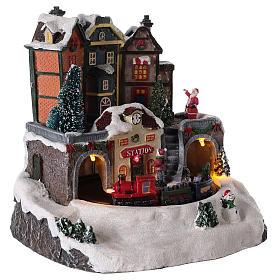 Village de Noël avec train en mouvement 20x15 cm s4
