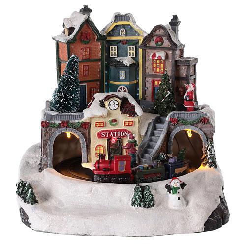 Village de Noël avec train en mouvement 20x15 cm 1