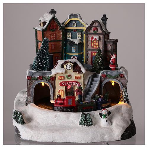 Village de Noël avec train en mouvement 20x15 cm 2