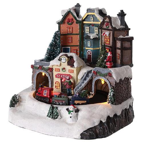 Village de Noël avec train en mouvement 20x15 cm 3