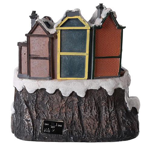 Village de Noël avec train en mouvement 20x15 cm 5