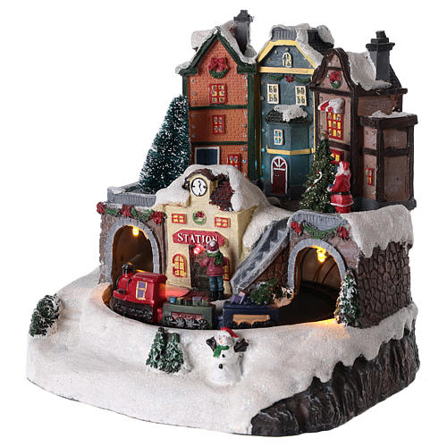 Villaggio di Natale con treno in movimento 20x15 cm 3
