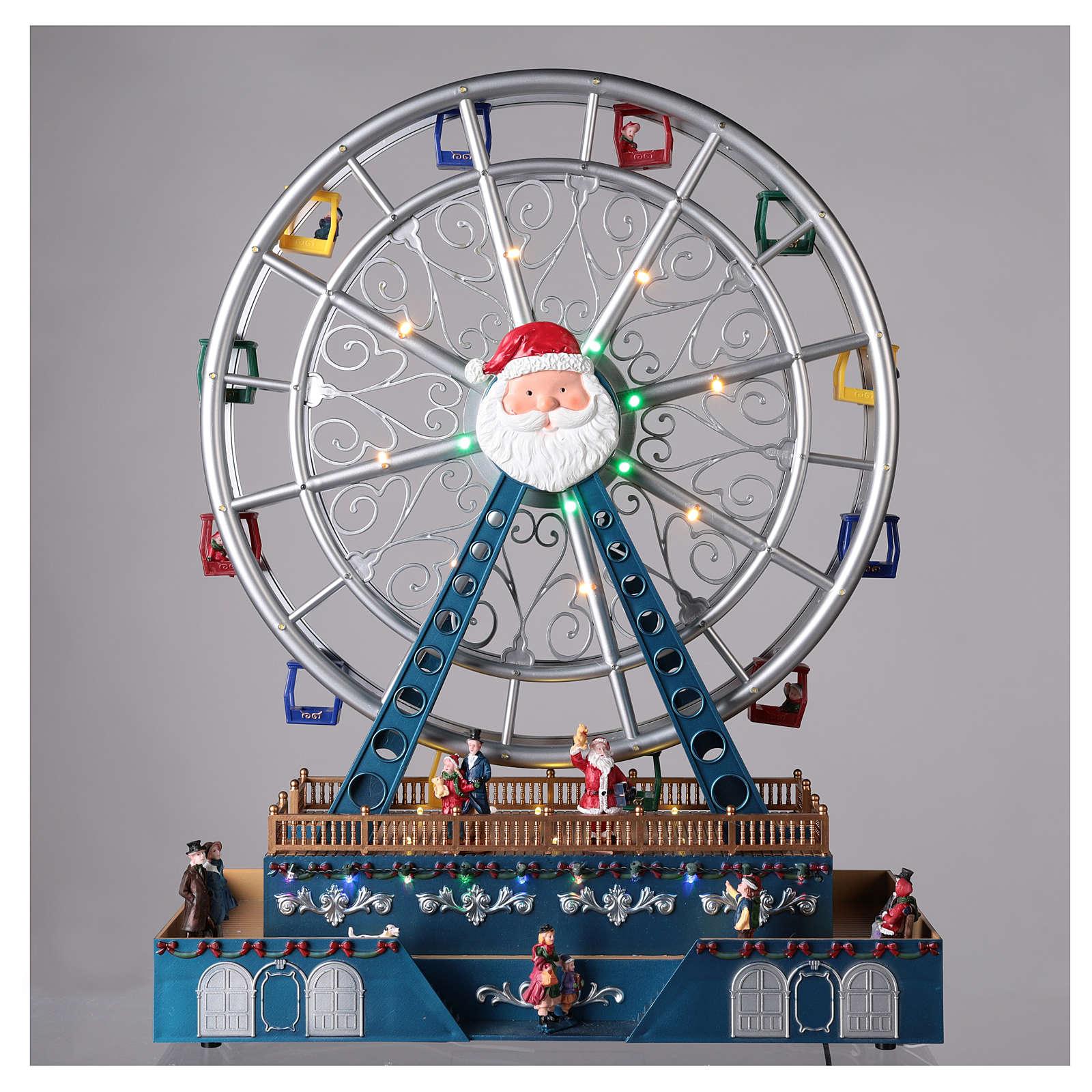 Roda-gigante para cenário natalino com música e iluminação 48x38x17 cm 3