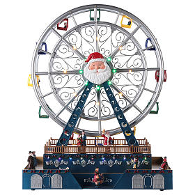 Roda-gigante para cenário natalino com música e iluminação 48x38x17 cm s1