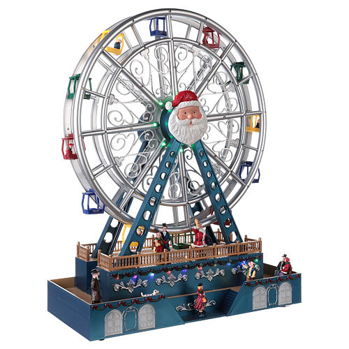 Roda-gigante para cenário natalino com música e iluminação 48x38x17 cm 4