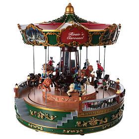Tiovivo con animales para pueblo navideño con iluminación movimiento y música 30x30 cm s3