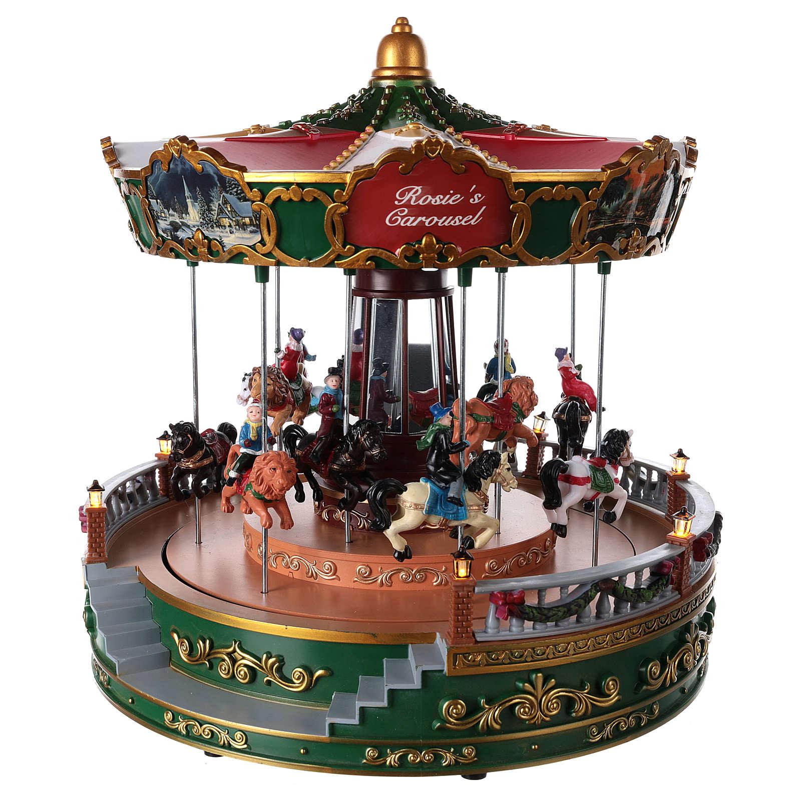 Carrousel pour village de Noël avec éclairage mouvement et musique 30x30 cm  3