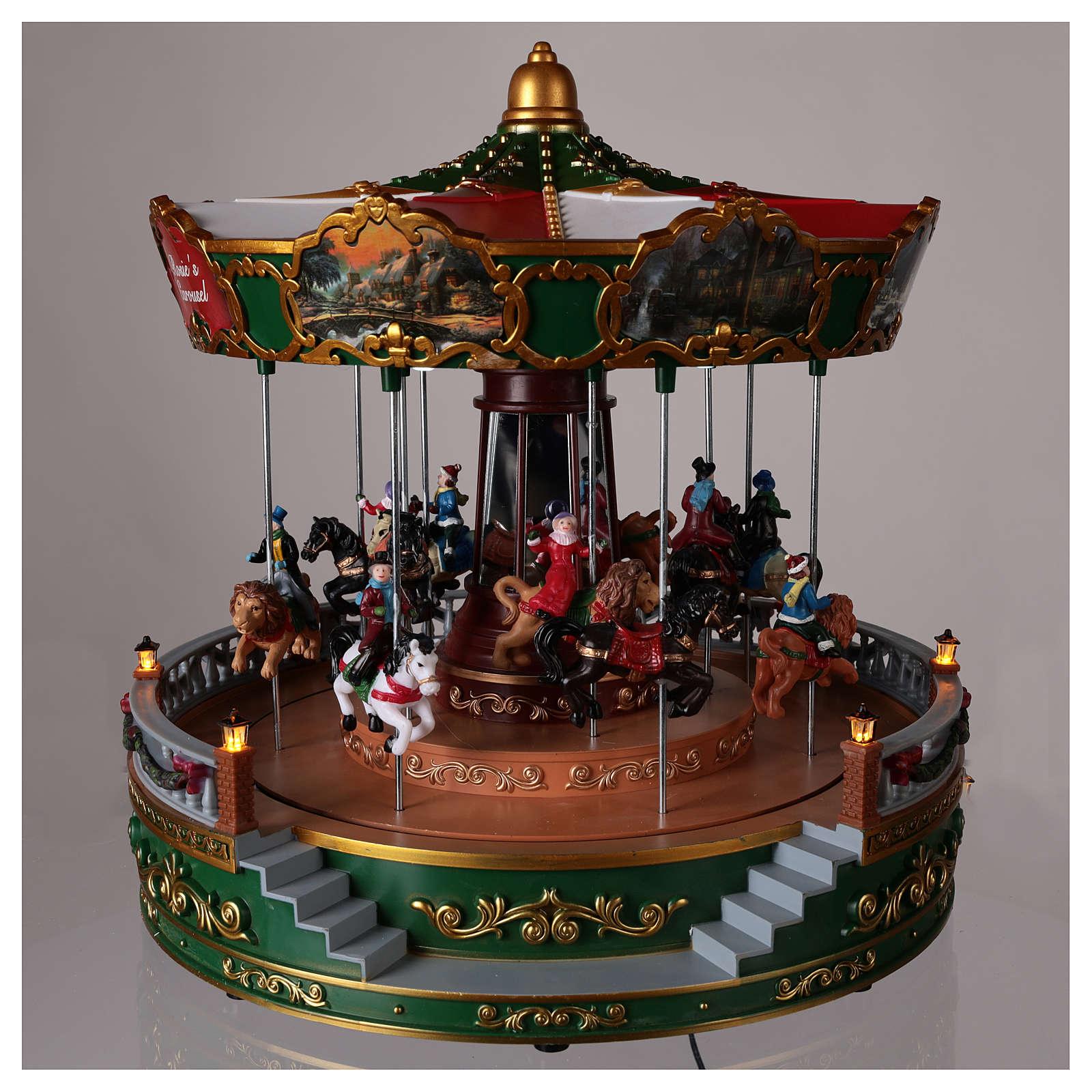 Carrossel para cenário de Natal com iluminação movimento e música 30x30 cm 3