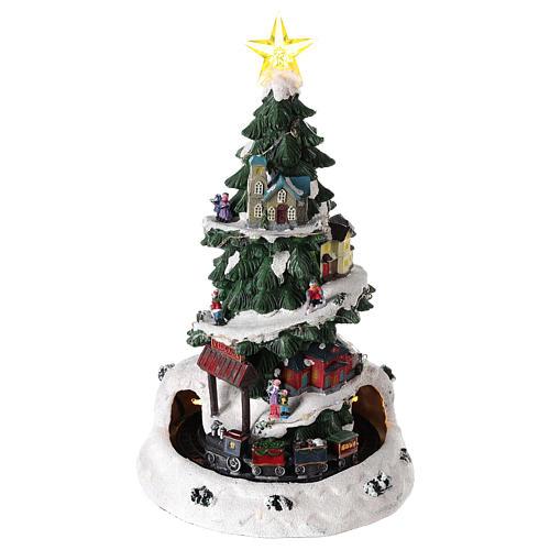 Árbol de Navidad para pueblo navideño con tren 35x20 cm 1