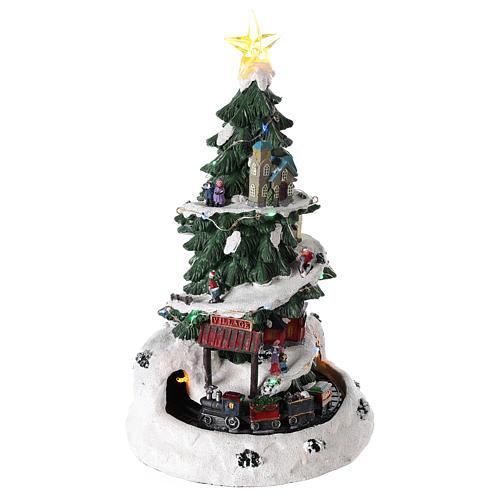 Árbol de Navidad para pueblo navideño con tren 35x20 cm 4