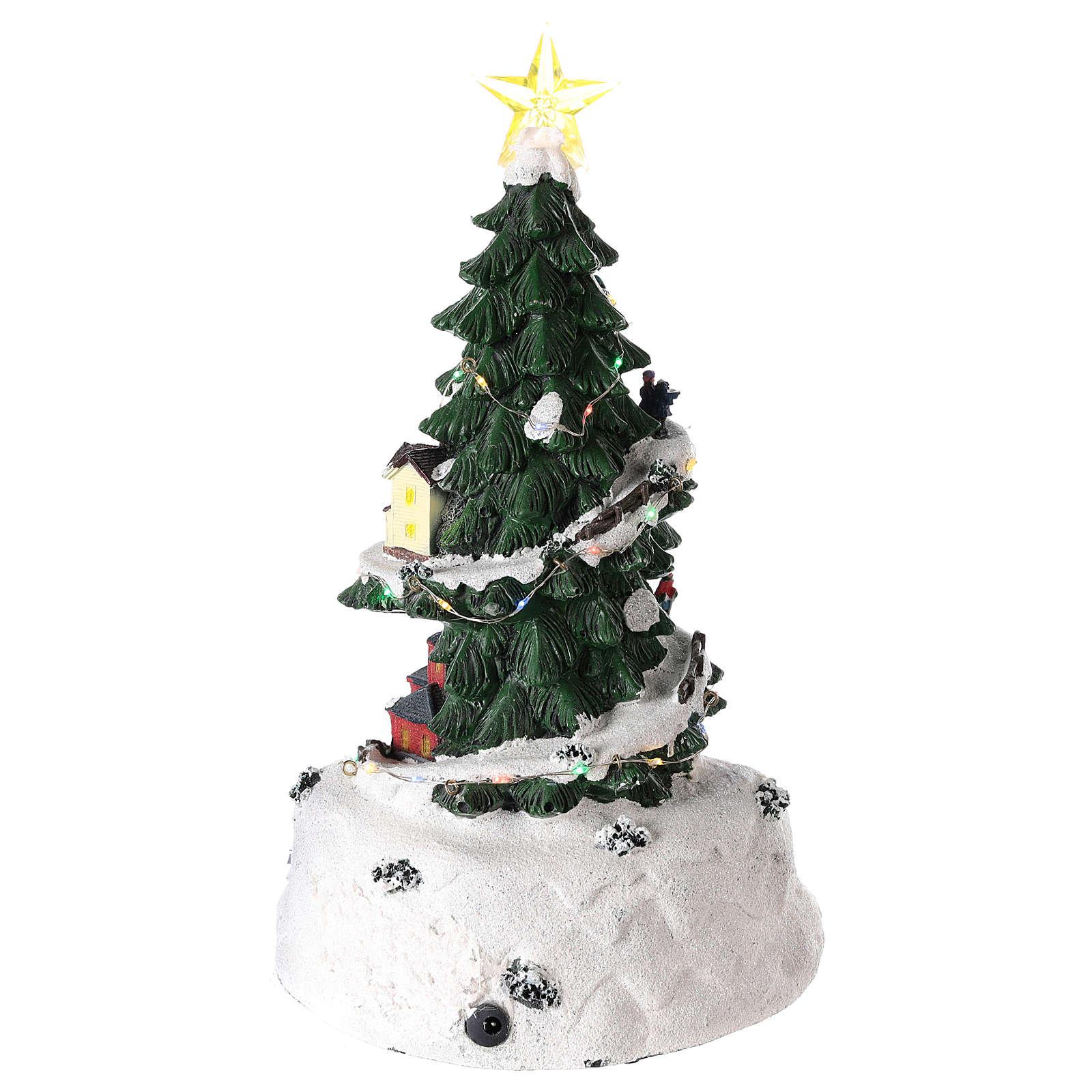 Albero di Natale per villaggio natalizio con trenino 35x20 cm 3