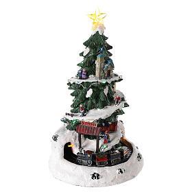 Choinka Bożonarodzeniowa do miasteczka z lokomotywą 35x20 cm s4
