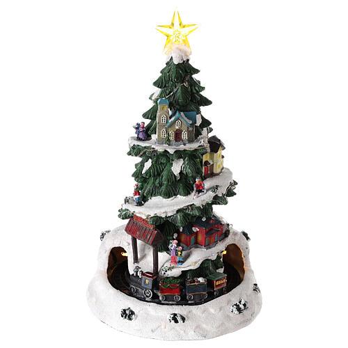 Choinka Bożonarodzeniowa do miasteczka z lokomotywą 35x20 cm 1