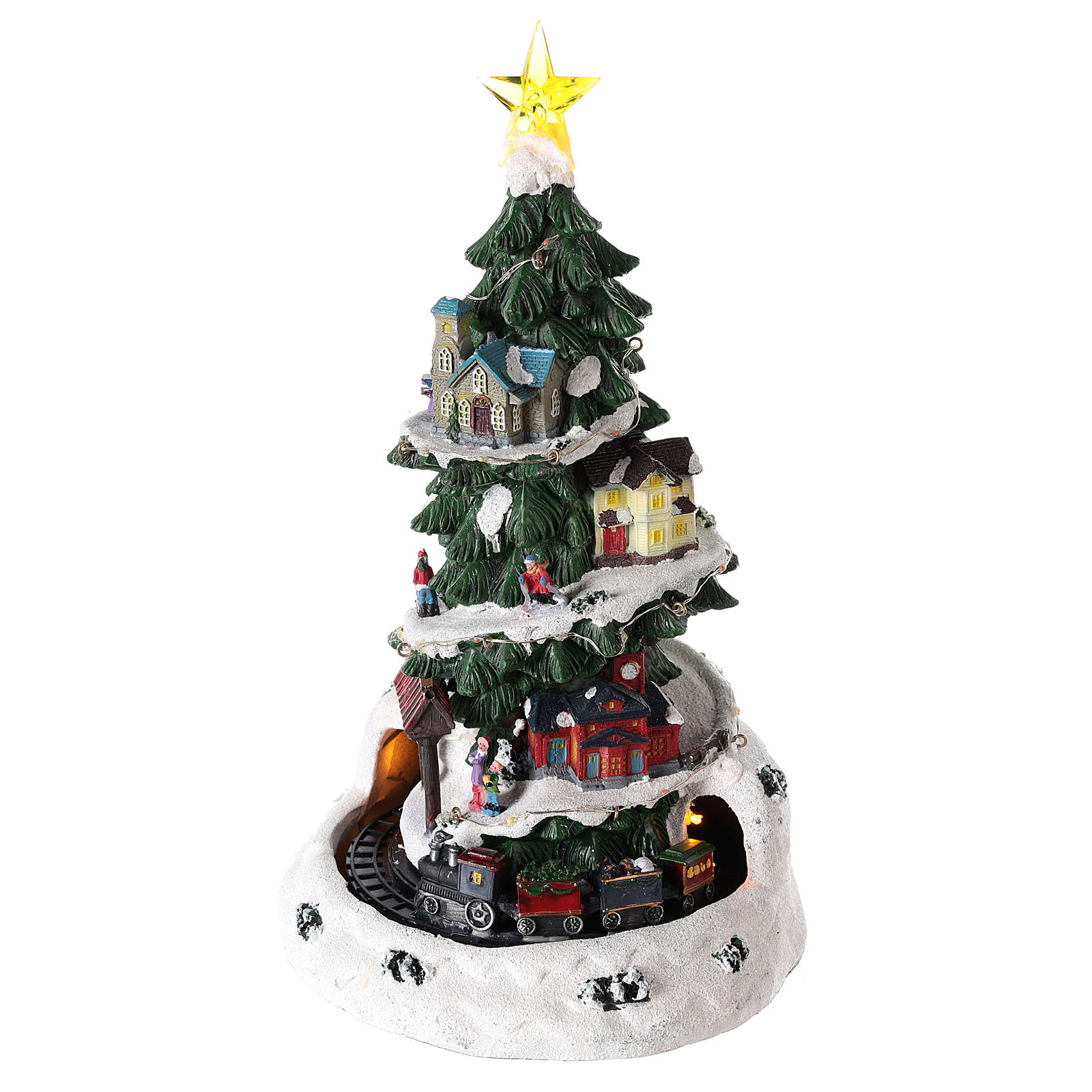 Christmas tree for winter village with train 35x20 cm 3