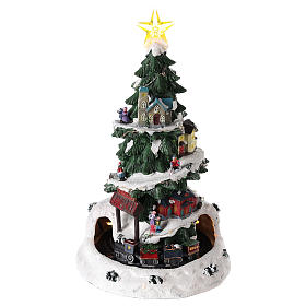 Christmas tree for winter village with train 35x20 cm s1