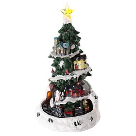 Christmas tree for winter village with train 35x20 cm s3