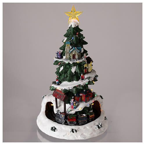 Christmas tree for winter village with train 35x20 cm 2