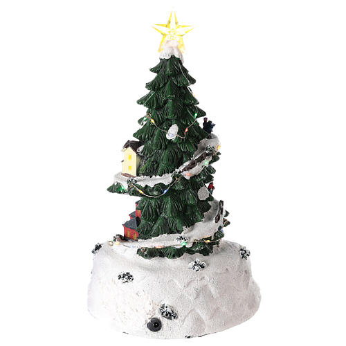 Christmas tree for winter village with train 35x20 cm 5