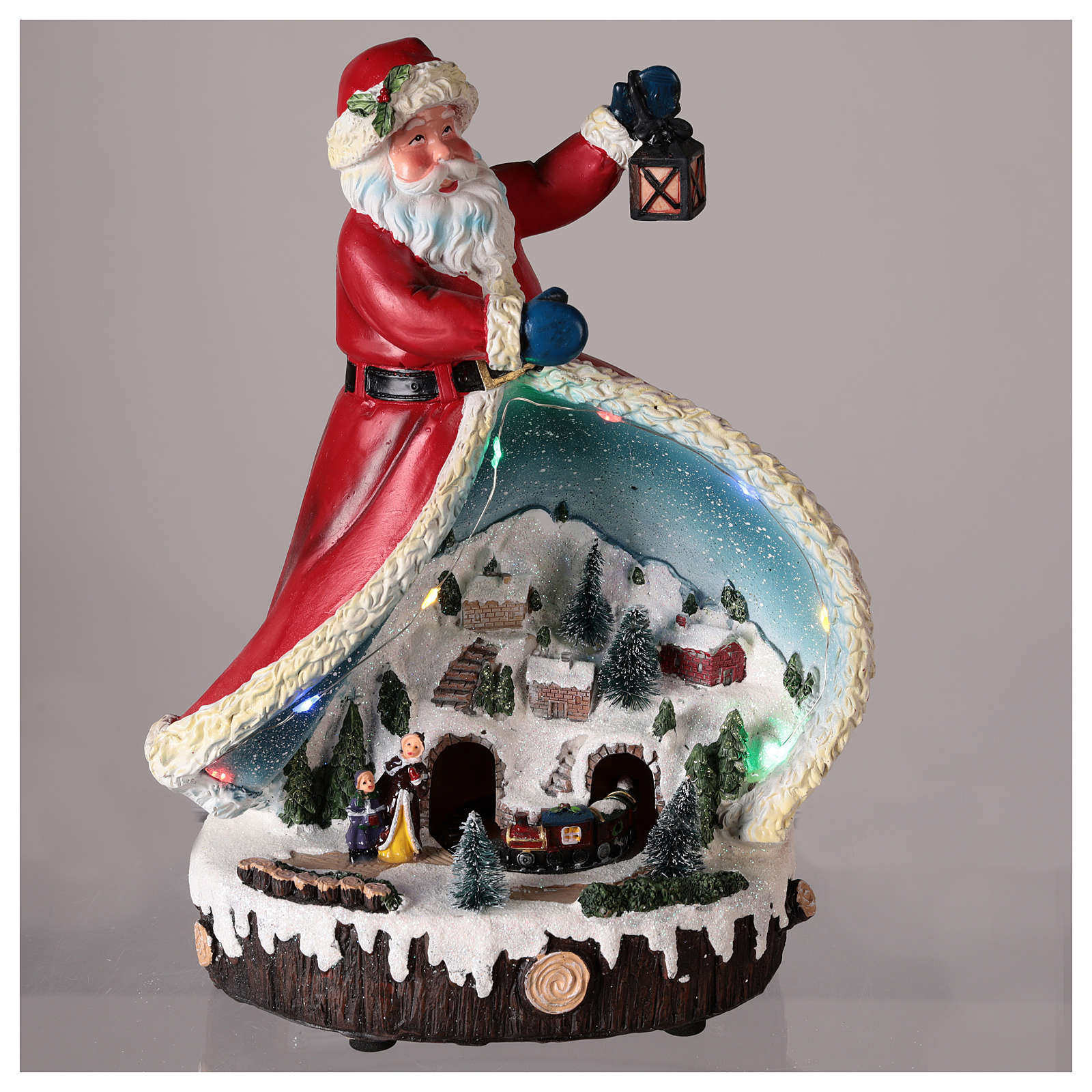 Statue of Santa Claus with village 30x20x15 3