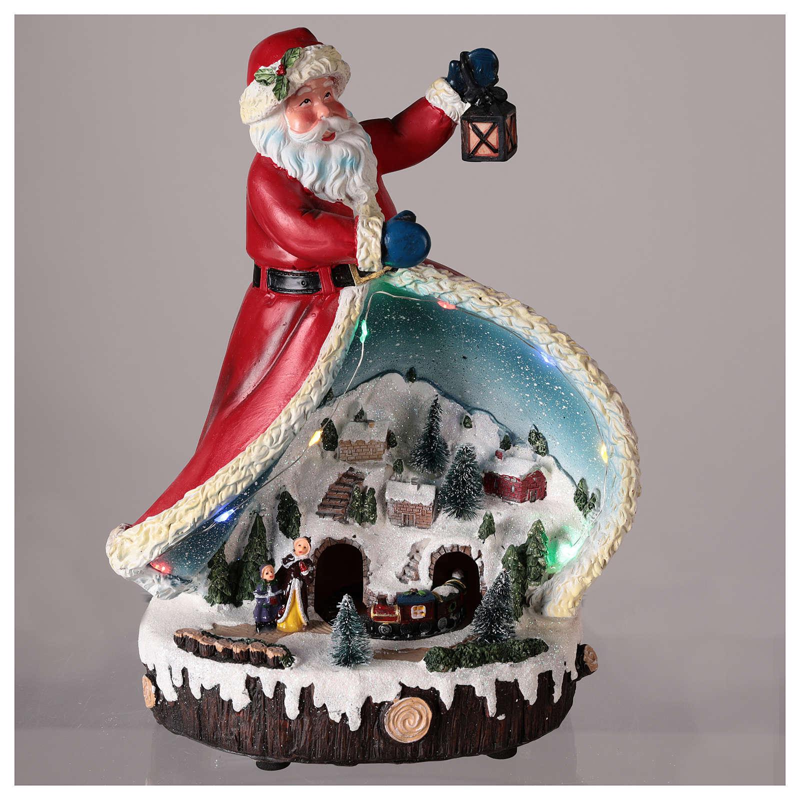 Statuette Père Noël avec village 30x20x15 cm 3