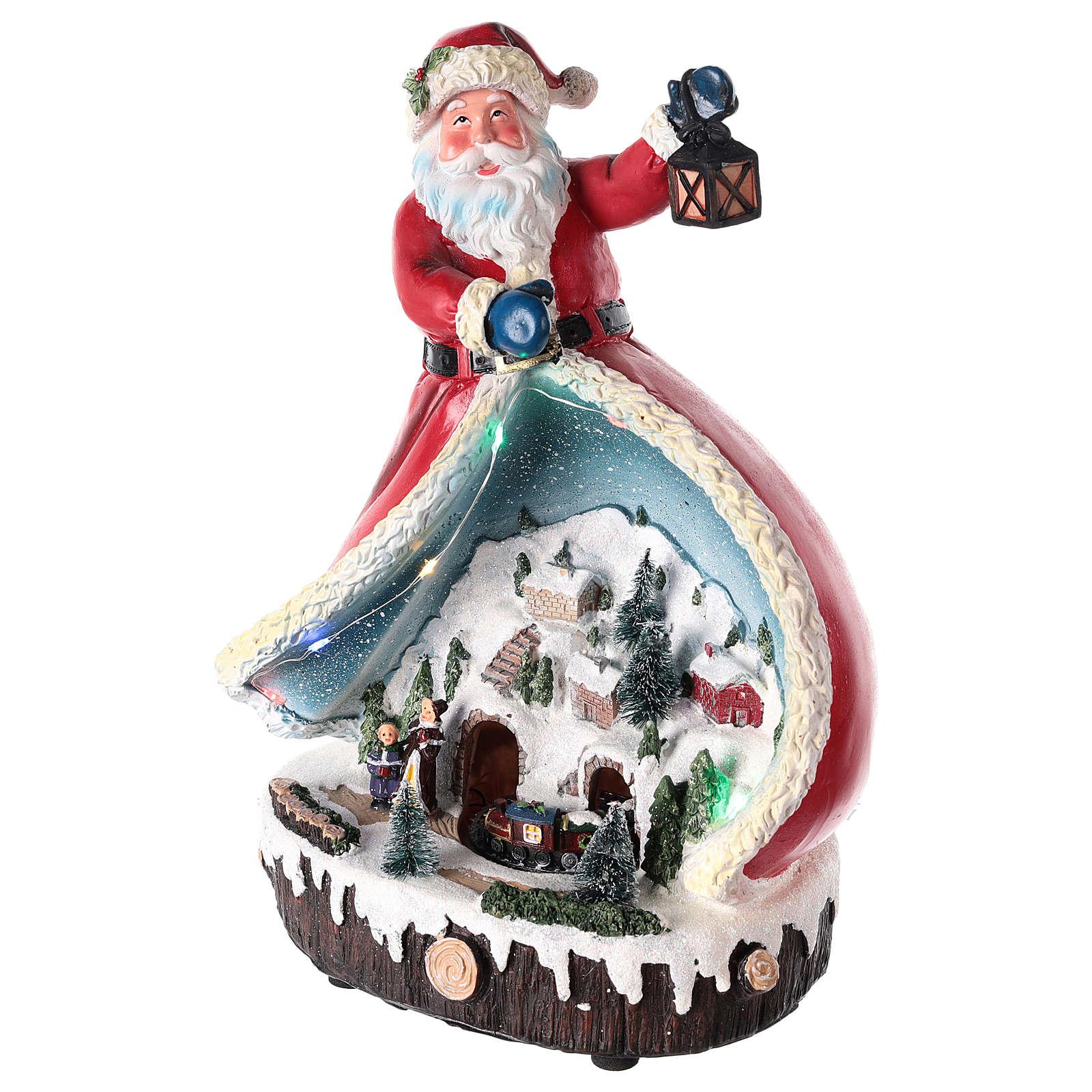 Statua di Babbo Natale con villaggio 30x20x15 3