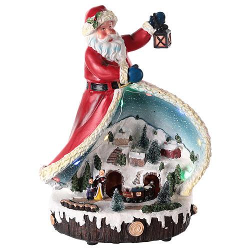 Statua di Babbo Natale con villaggio 30x20x15 1