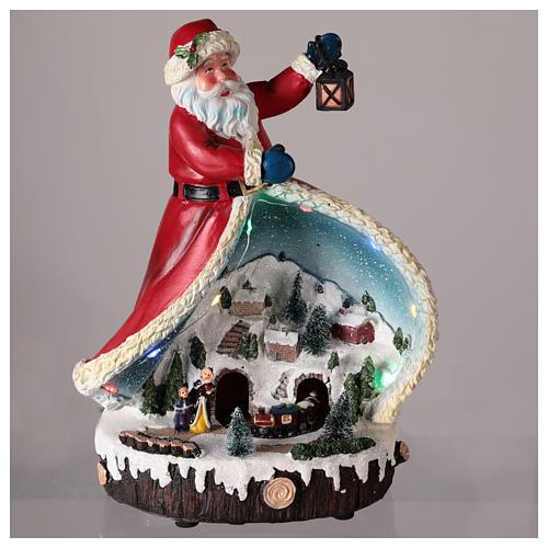 Statua di Babbo Natale con villaggio 30x20x15 2