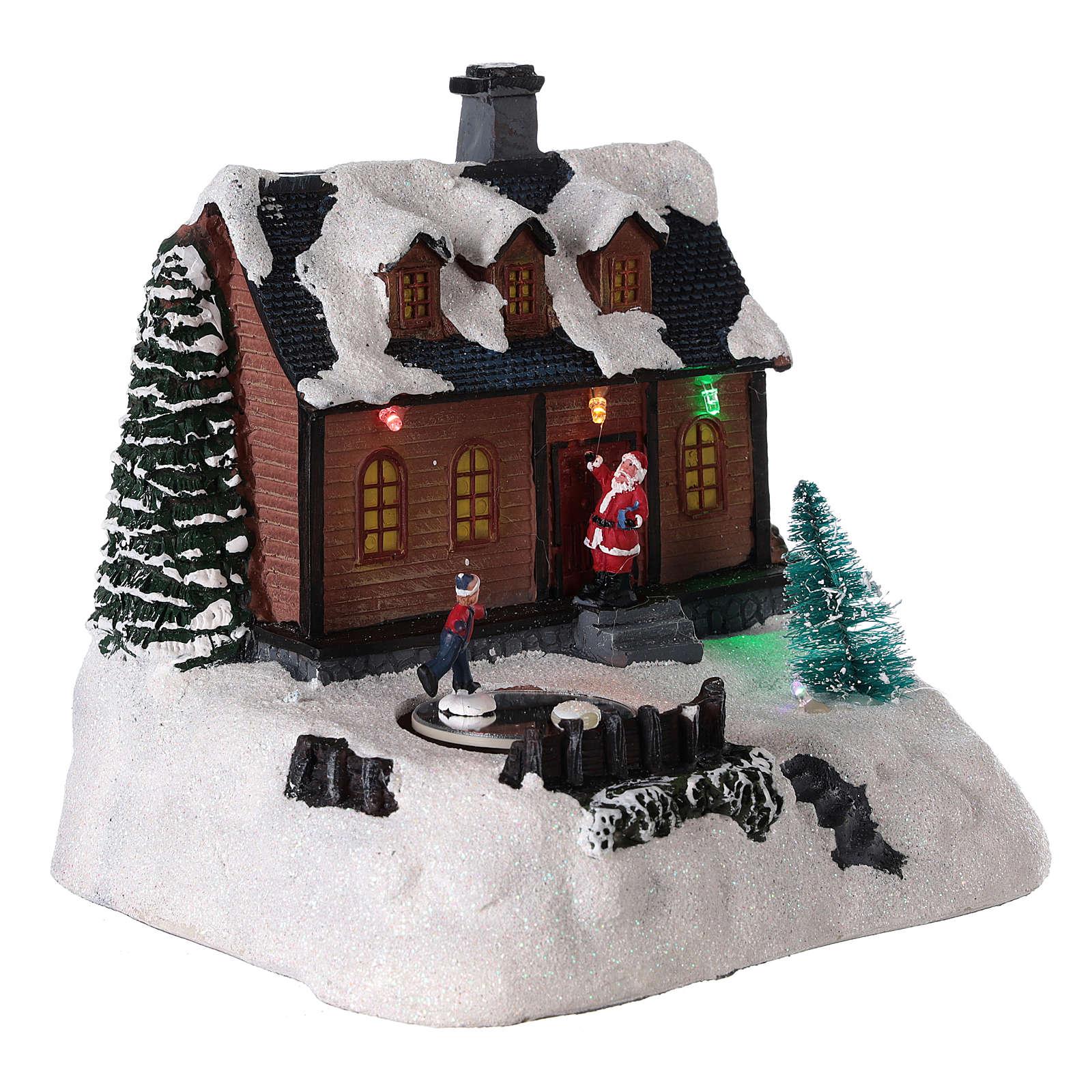 Casa para pueblo iluminada con música 20x20x15 cm 3