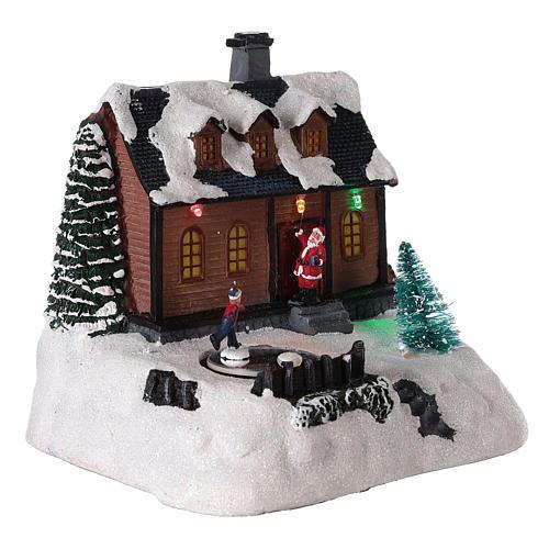 Casa para pueblo iluminada con música 20x20x15 cm 4