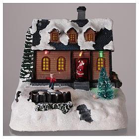Maison pour village de Noël avec éclairage et musique 20x20x15 cm s2