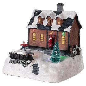Maison pour village de Noël avec éclairage et musique 20x20x15 cm s3
