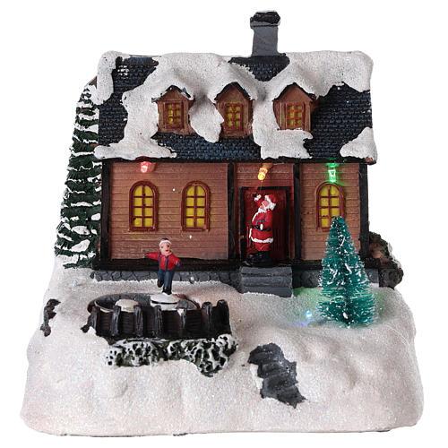 Maison pour village de Noël avec éclairage et musique 20x20x15 cm 1