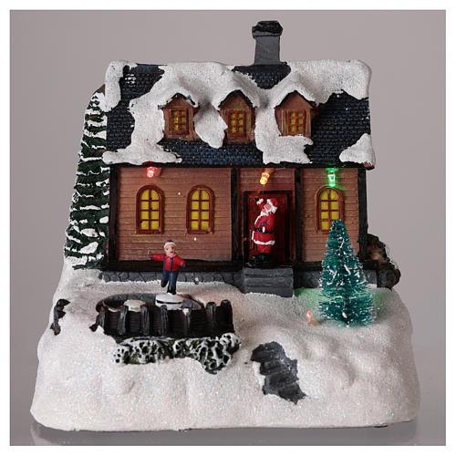 Maison pour village de Noël avec éclairage et musique 20x20x15 cm 2