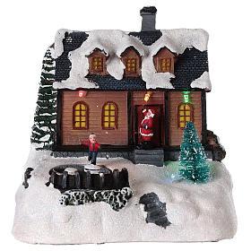 Cenários Natalinos em Miniatura: Casa para aldeia iluminada com música 20x20x15 cm