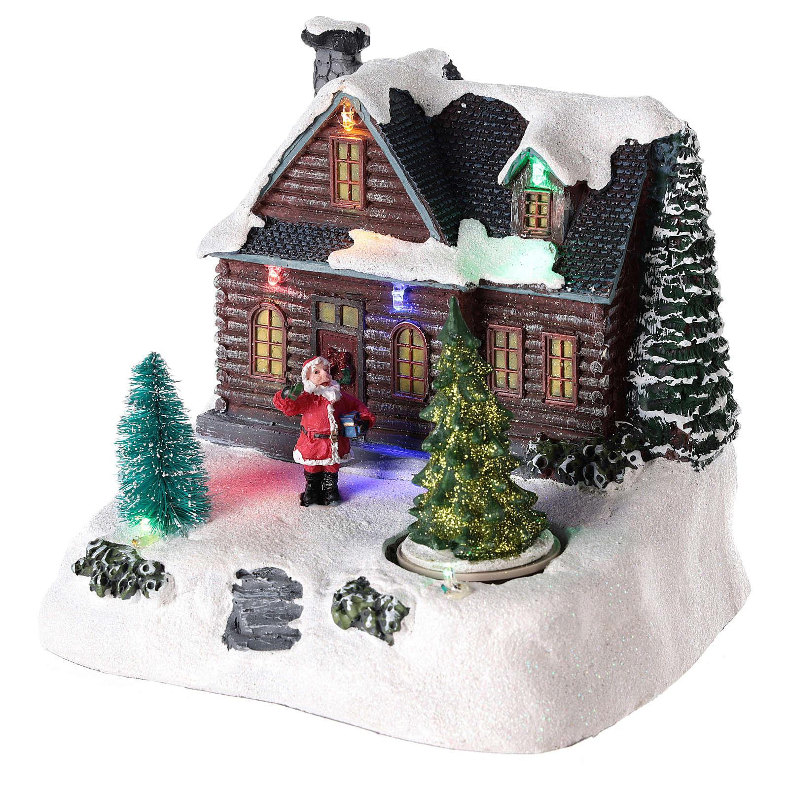 Casa iluminada con Papá Noel para pueblo de Navidad 20x20x15 cm 3