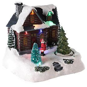 Casa iluminada con Papá Noel para pueblo de Navidad 20x20x15 cm s4