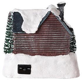 Casa iluminada con Papá Noel para pueblo de Navidad 20x20x15 cm s5