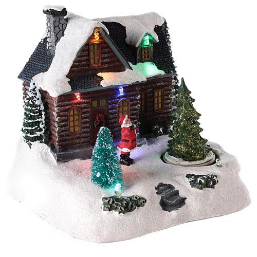 Casa iluminada con Papá Noel para pueblo de Navidad 20x20x15 cm 4