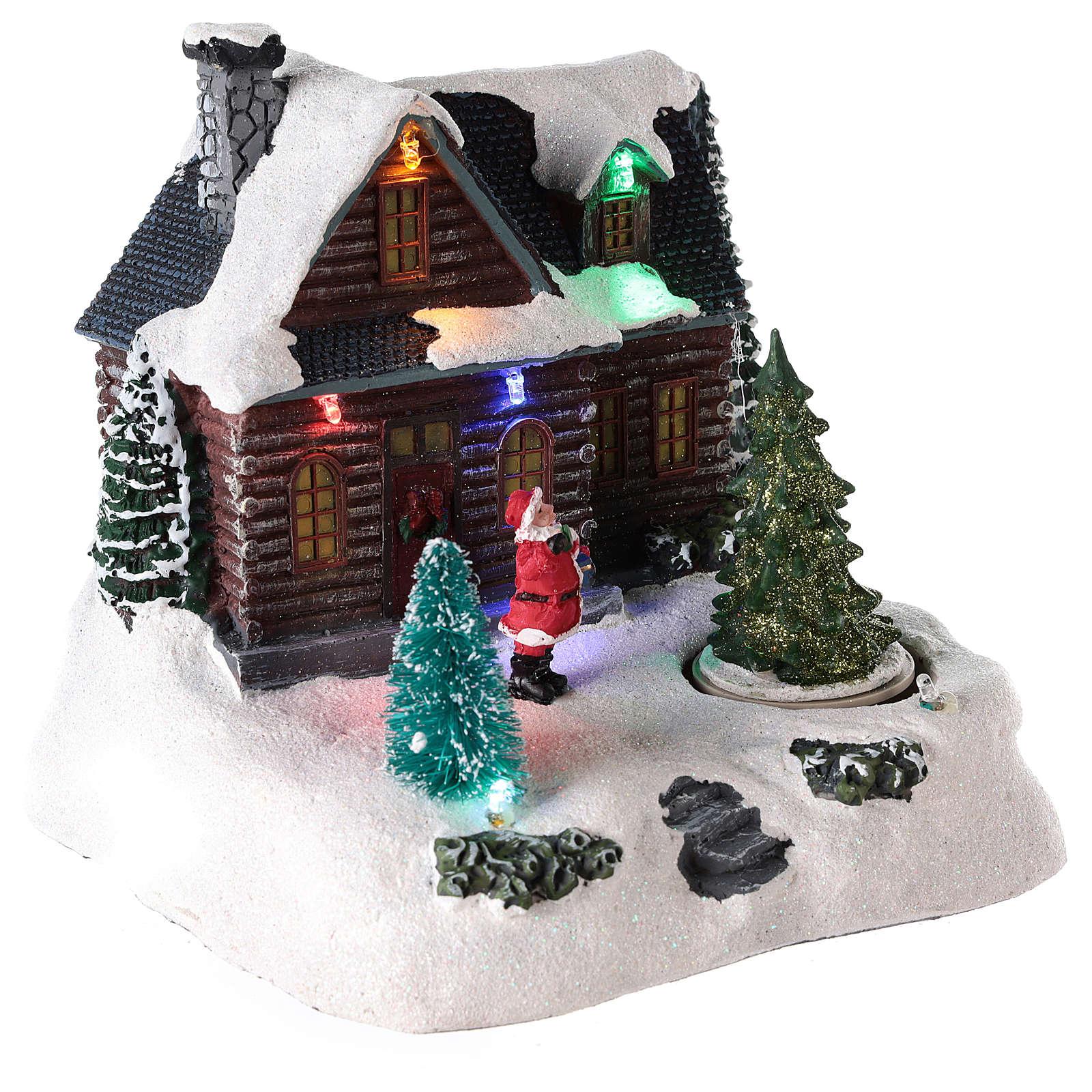 Maison éclairée avec Père Noël pour village de Noël 20x20x15 cm 3