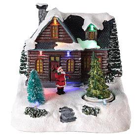 Cenários Natalinos em Miniatura: Casa iluminada com Pai Natal para cenário de Natal 20x20x15 cm