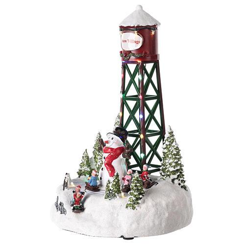 Wasserturm mit Schneemann, 35x20 cm 3