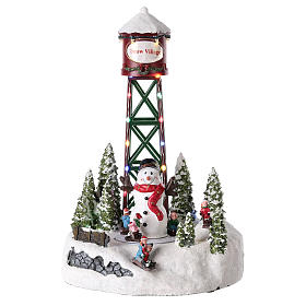 Christmas villages sets: Aqueduct for Christmas village with snowman 35x20 cm.