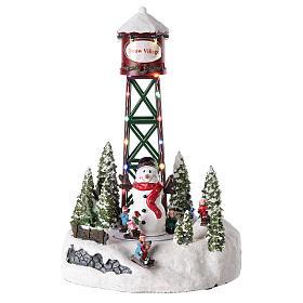 Pueblos navideños en miniatura: Acueducto para pueblo de Navidad con muñeco de nieve 35x20 cm