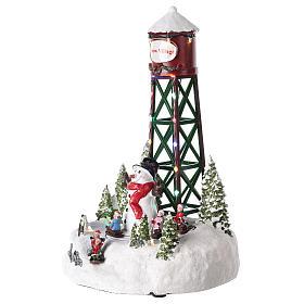 Acueducto para pueblo de Navidad con muñeco de nieve 35x20 cm s3