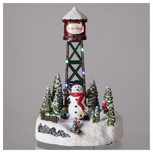 Acueducto para pueblo de Navidad con muñeco de nieve 35x20 cm 2
