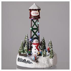 Aqueduc pour village de Noël avec bonhomme de neige 35x20 cm s2