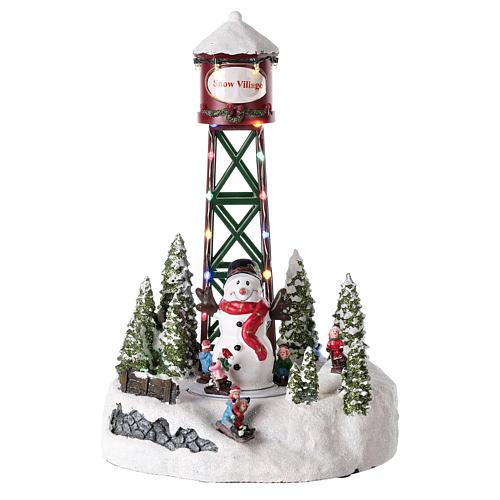 Aqueduc pour village de Noël avec bonhomme de neige 35x20 cm 1