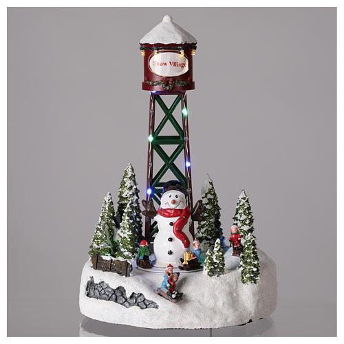 Acquedotto per villaggio di Natale con pupazzo di neve 35x20 cm 2